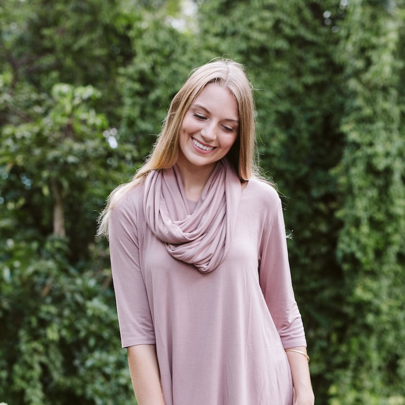 Jersey Infinity Scarf / Soft Scarf / Periwinkle Blue / Mauve / image 0