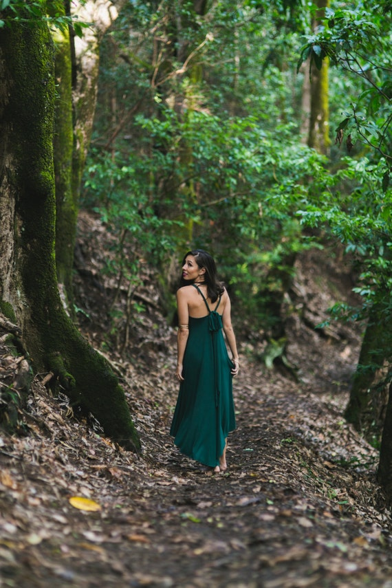 Fern High-Low Maxi Dress / Hunter Green