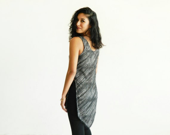 Charcoal Gray & Gold Sparkle Eyelash Bouclé Split Side Fishtail Tunic