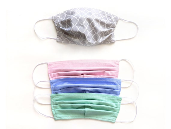 Gray Quatrefoil PLEATED Fabric Face Mask / Cloth Face Covering