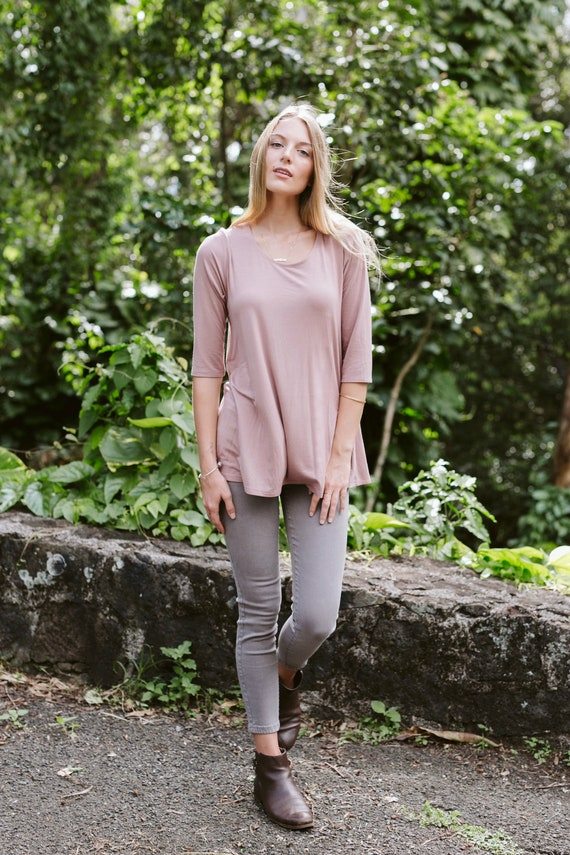 Kaya Swing Tunic  Flowy Top  Long Top  Sage Green  Burgundy  Mauve  Black  Navy  Heather Gray  Leggings Top  Women/'s Fashion