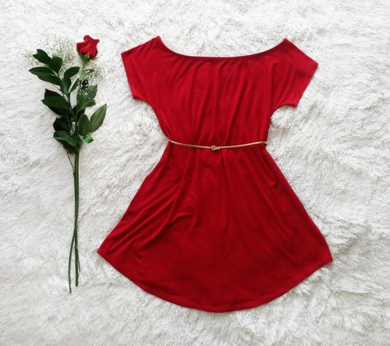 Ruby Red Darla Off The Shoulder Dress / Boatneck Dress / Swing Dress / Short Sleeve / Simple / Flowy Dress / Christmas / Resort / Fashion