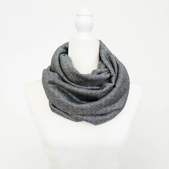 Infinity Scarf / Gunmetal Silver Sparkle Sweater Knit