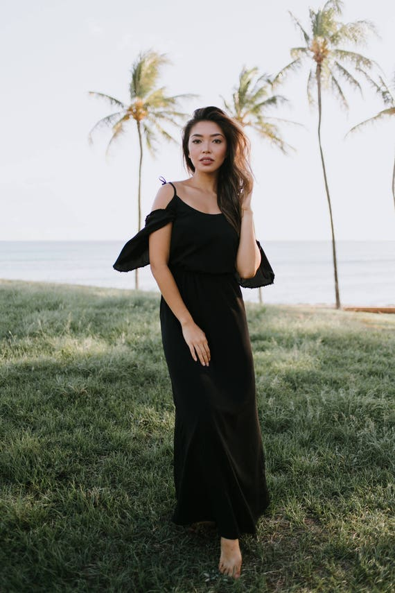Dress Camilla Lined Dress Black Resort Fashion Summer LBD Ethereal Shoulder Off Black Maxi Trim Lace Shoulder The Cold Long 0wfgvdqf
