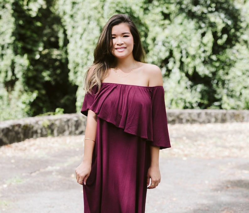 Jersey Asymmetry Off The Shoulder Ankle Length Dress / One image 0