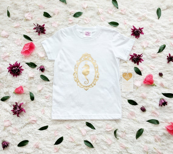Girls' Size 6 & 10 Seahorse Cameo Tee / More Colors!