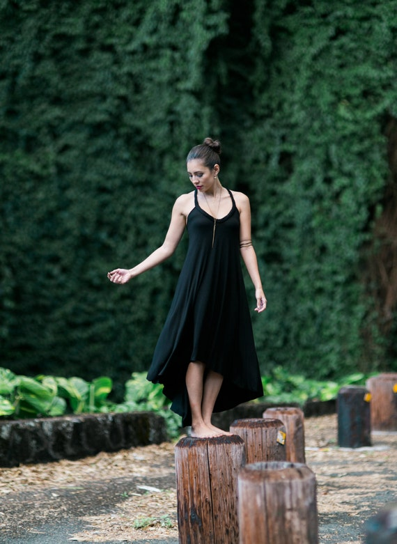Fern High-Low Maxi Dress / Black