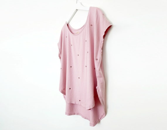 Sparkle Tee / Swarovski Crystals / Organic Cotton TShirt / Tulip Hem Tee / Flowy / High-Low / White / Blush / Gray / Black / Made in USA