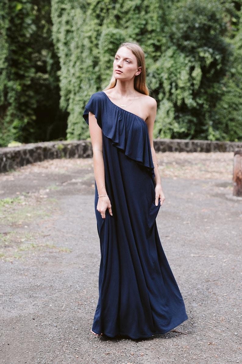 Jersey Asymmetry Off The Shoulder Floor Length Dress / Flowy / image 0