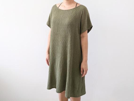 Crinkle Swiss Dot Rayon Wide Neck or One Shoulder High-Low Blouse Dress / Olive / Black