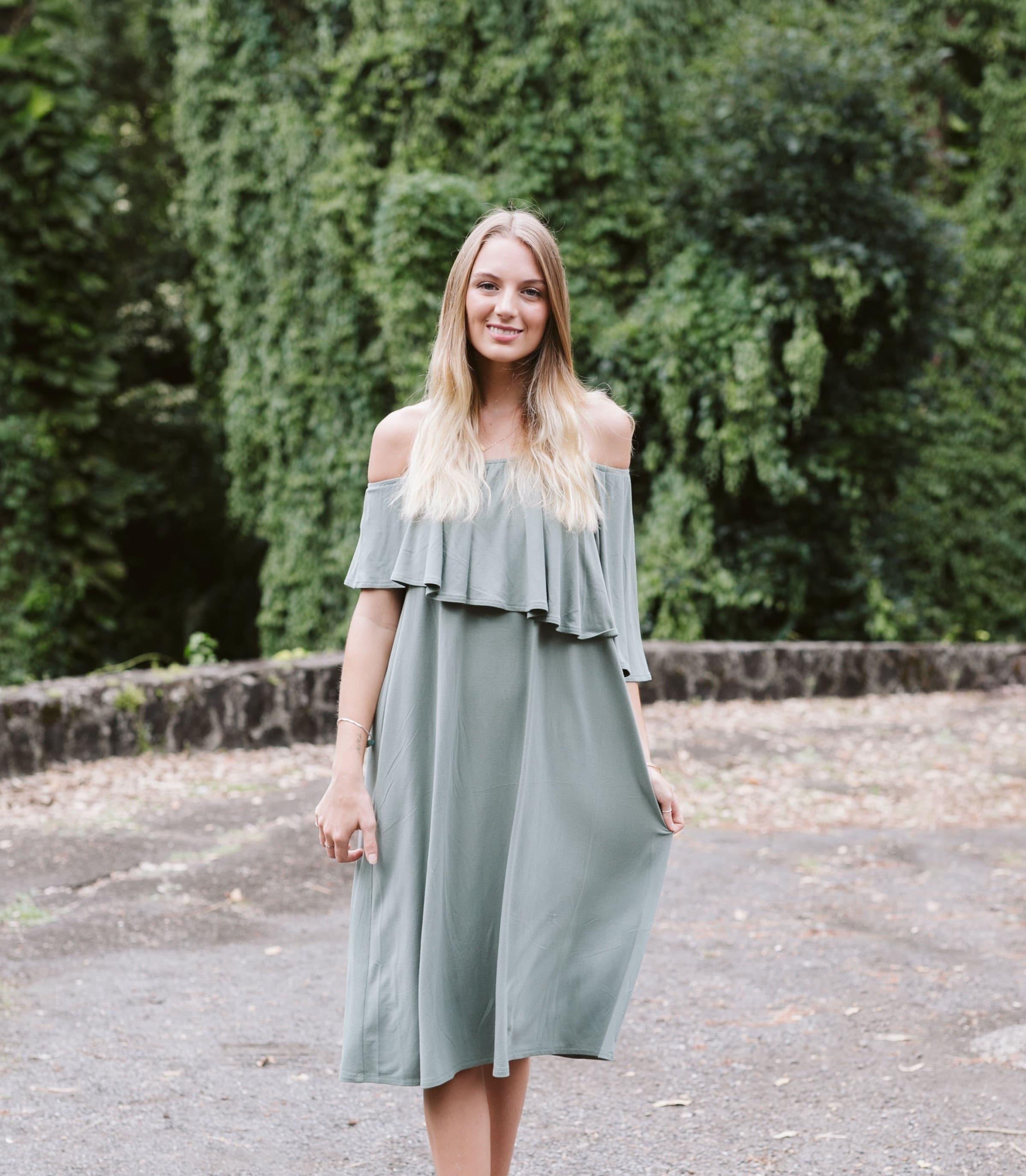 1e59fe4254a Jersey Asymmetry Off The Shoulder Midi Dress / More Colors!