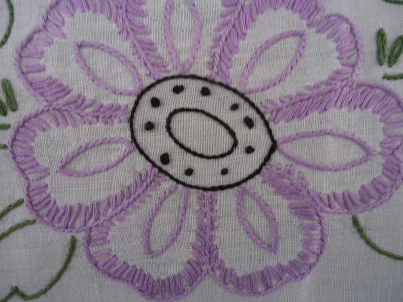 38 Round Embroidery Crochet Table Topper Handmade Vintage