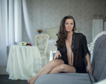 10065 Sexy black peignoir (sexy lingerie, erotic lingerie, shirt, bridal, wear, honeymoon, nightgown, gift, girl)