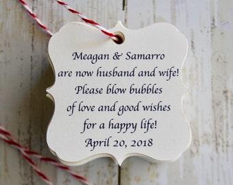 BLOW BUBBLES, Bubbles Wedding Favor, Wedding Favor Tags, Thank You Tag
