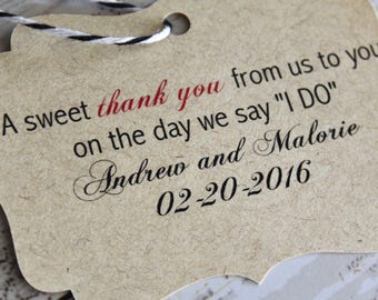Wedding Favor Tag, Sweet Thank You, Bracket Tag, Thank You I Do, Favor Tag, Gift Tag, Weddings