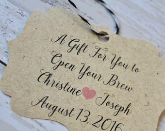 Wedding Favor Tag, Bottle Opener Tag, Bracket Tag, Thank You, Favor Tag, Gift Tag, Weddings