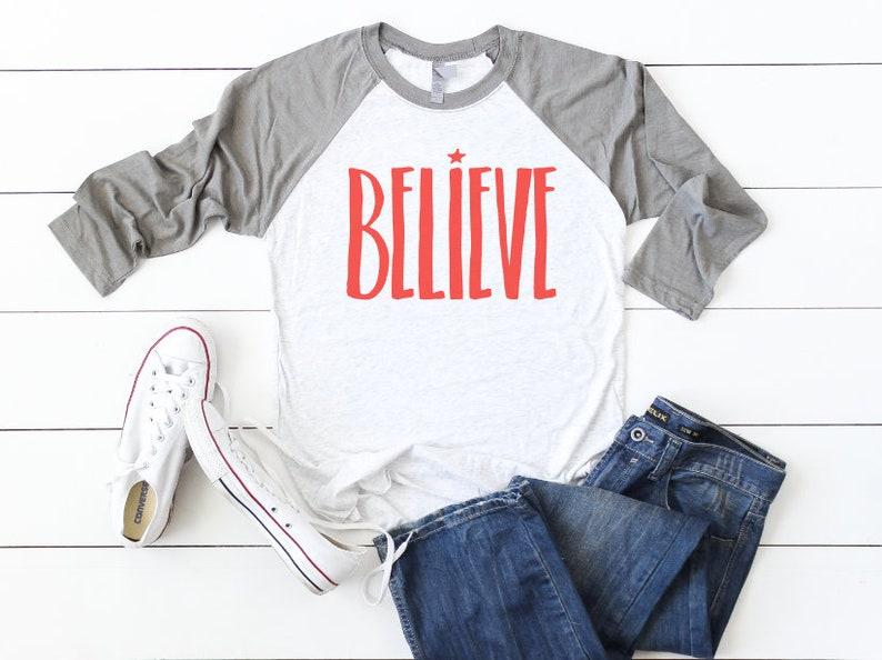 BELIEVE Women/'s Christmas Shirt