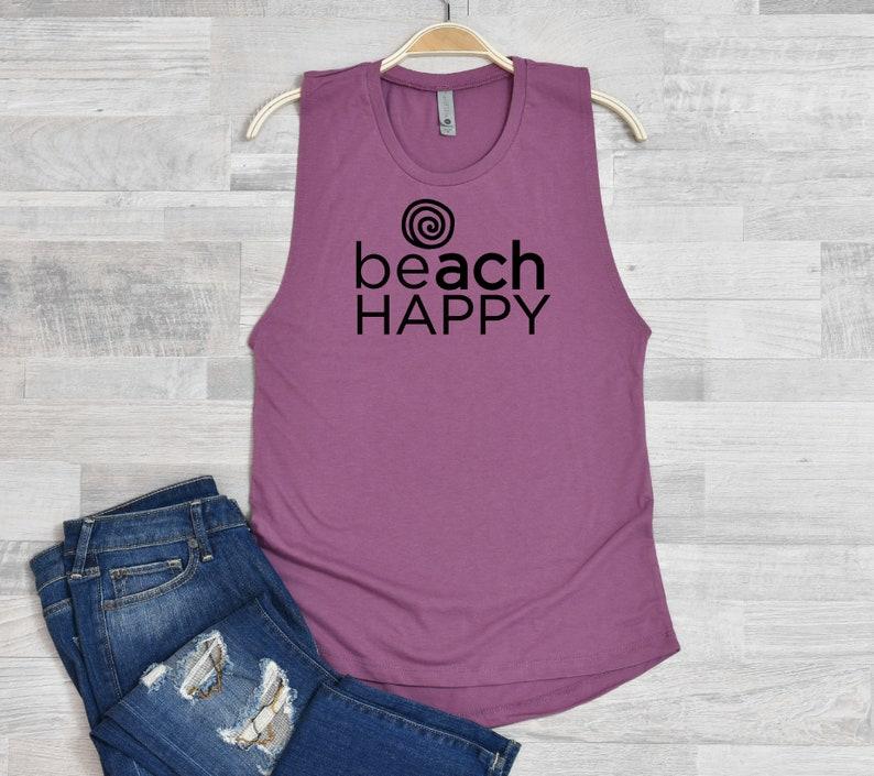 BEACH HAPPY Women/'s Festival Muscle Tank