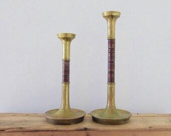 Brass and Teak Candlesticks