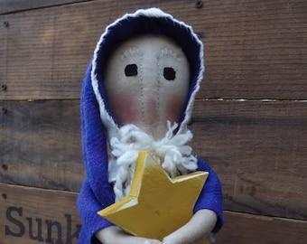 Old World Santa ,Primitive Santa Stump Doll, Christmas Home Decor