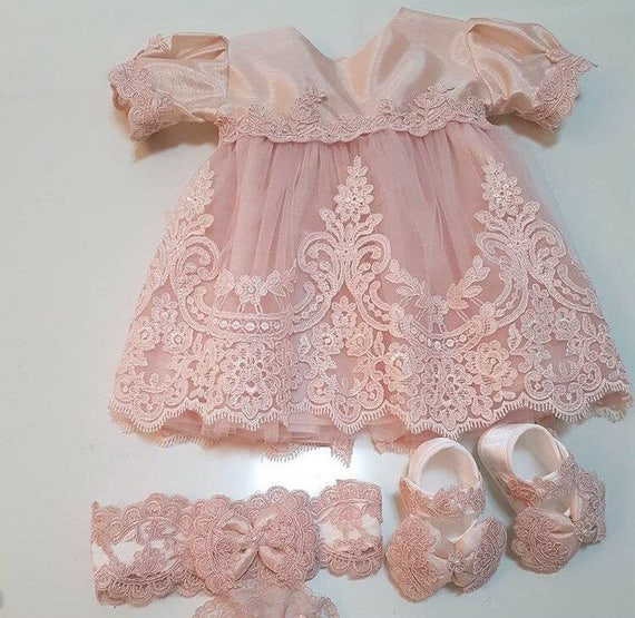 Baby lace dress with matching headband