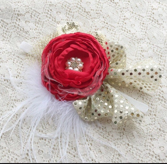 Christmas Flower Headband | red Headband | gold H… - image 1