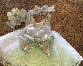 Silver and beige lace baby dress with headband and shoes