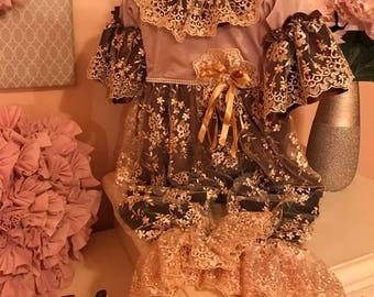 Vintage lace Brown and gold romper set