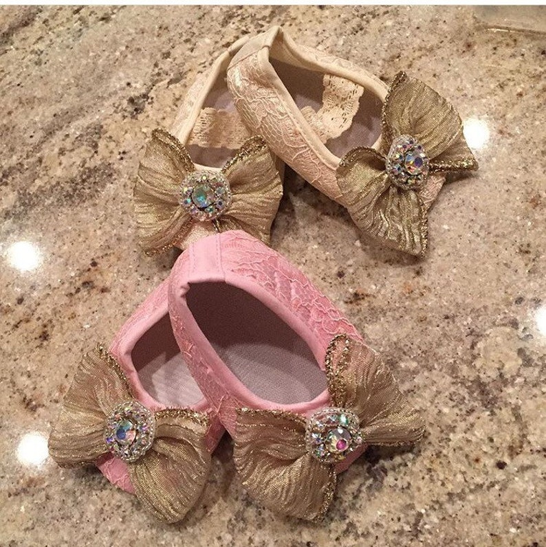 Pink Lace Shoes Pink Bow Shoes Ivory Bow Shoes Pink Crystal Shoes Ivory Crystal Shoes Ivory Lace Shoes Baby Shoes Infant Shoes