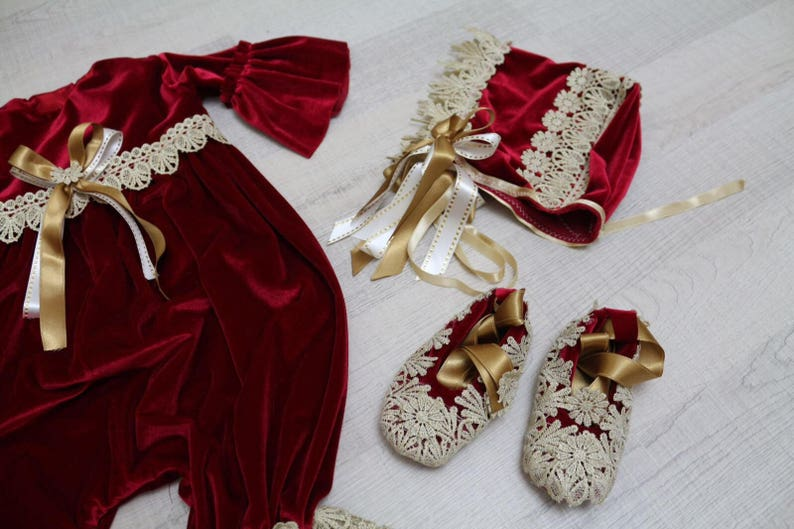 Vintage lace red and gold romper set