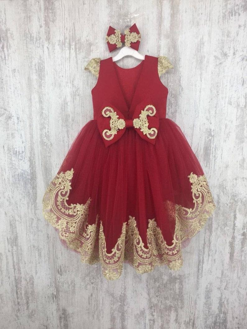 Red and Gold Hi-Low Tutu Dress