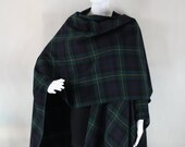 Womens open poncho, Scottish plaid, Tartan, check poncho, womens cape, wool poncho, oversized poncho, men poncho, womens cloak, womens coat