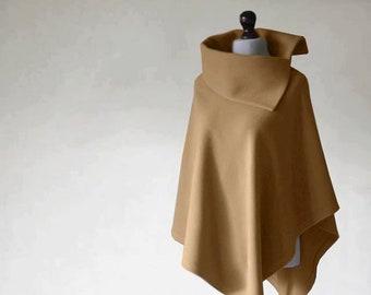 Cashmere poncho, camel poncho, camel coat, women's coat, wool coat, women's poncho, women's cape, wool poncho, cashmere sweater, wool cloak