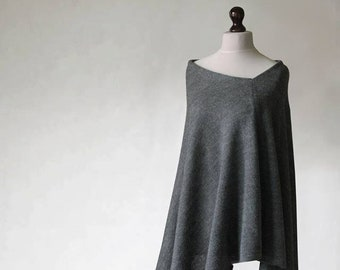 Women's poncho, Nursing Cover, Nursing poncho, Knit poncho, gray poncho, women's sweater, knit sweater, women's cape, knit cape, wool poncho