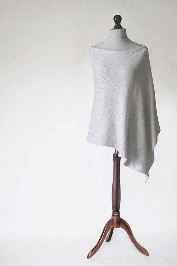 d2e307e5a Cashmere poncho, Knit poncho, white scarf, wrap women, womens poncho,  womens sweater, wrap sweater, knit scarf, wedding poncho, white poncho