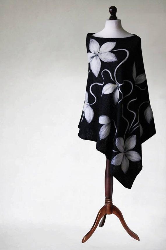 appliques coat knit poncho women's felted shawl woemn's knit poncho Black felted knit knit poncho capelet scarf poncho women's cape qFd5FpvUn