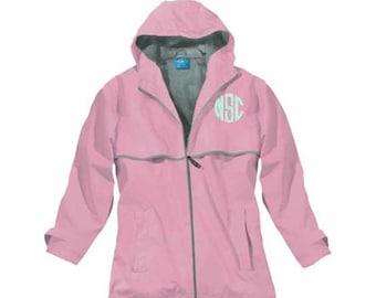 Pink Monogrammed Rain Jacket, A Women's Waterproof Coat that includes Personalization