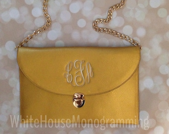 Deluxe ONE OF A KIND Monogrammed Clutch Purse- Gold Crossbody Clutch
