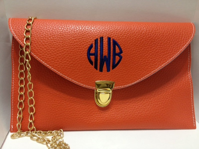 Orange Monogrammed Clutch Purse/Crossbody Clutch/Monogram image 0