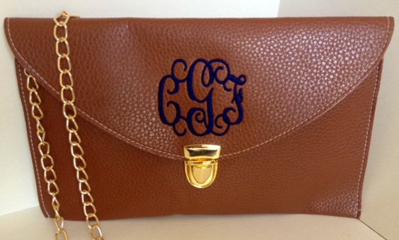 Monogrammed Clutch Purse-BROWN-Crossbody/Leather image 0