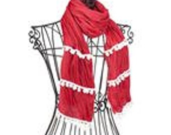 Red & White Monogrammed Pom Pom Scarf, A Lightweight Fashion Accessory With Personalization Great for Gifts