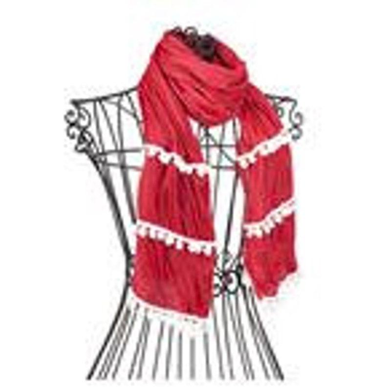 Red & White Monogrammed Pom Pom Scarf A Lightweight Fashion image 0