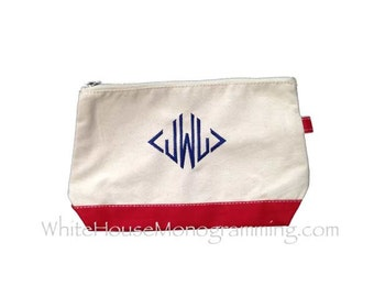 Monogrammed Canvas Cosmetic Bags  *5 colors available