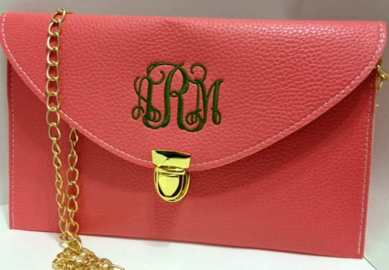 Salmon Monogrammed Clutch Purse  A Crossbody Clutch with a image 0