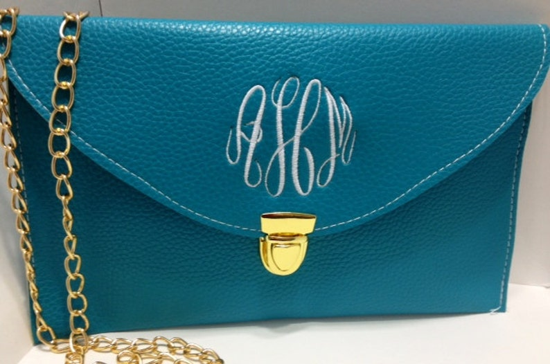 Teal Monogrammed Clutch Purse A Crossbody Purse with image 0