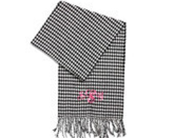Houndstooth Monogrammed Cashmere-feel Scarf