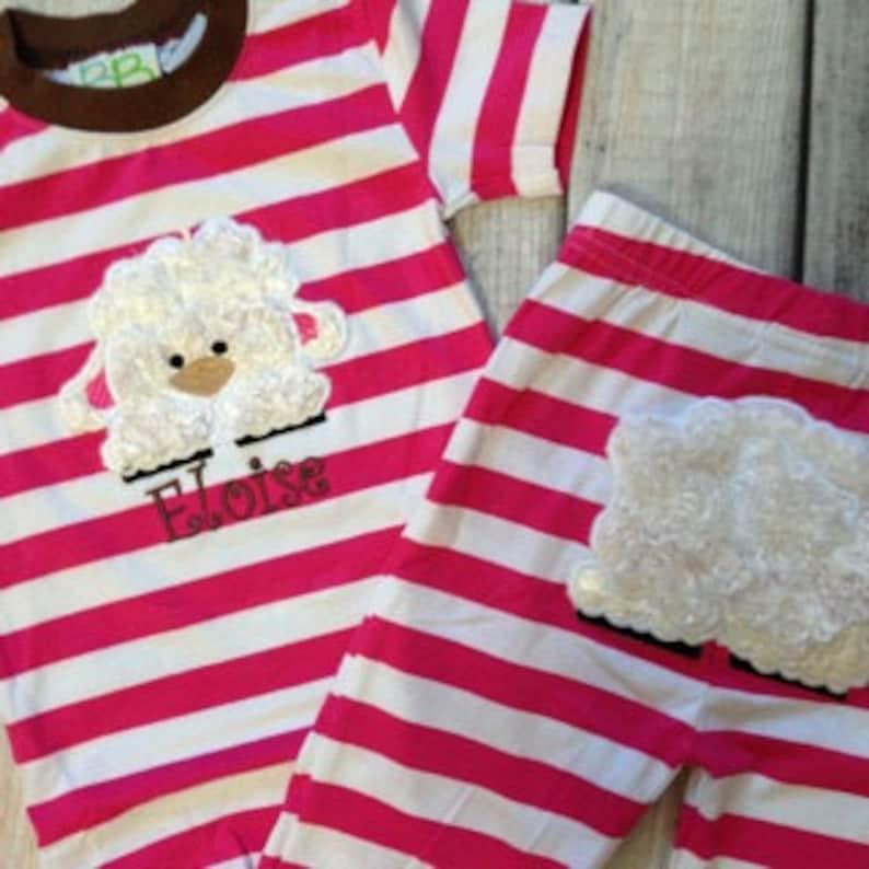 Large Stripe Baby Sheep Applique Childrens Pajamas image 0