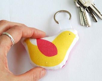 Yellow bird keychain, Little stuffed bird keyring, design keychain, soft keyring, keys holder, fun illustrated keyring