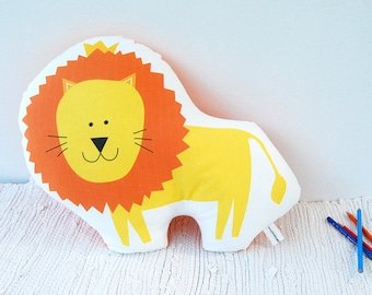 Lion soft toy, stuffed animal pillow, Decorative cushion, children pillow, kids, cotton toy, nursery toy, room deco, stuffed lion, baby toy