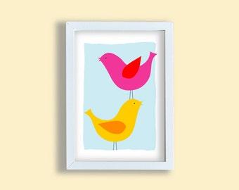 Birds print, colorful art print, two birds art print, yellow bird poster, pink bird, children room wall art, happy bird print, birds poster